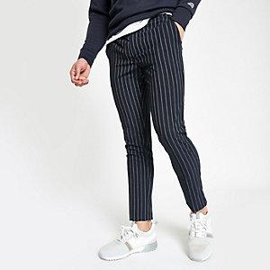 Pantalon de jogging ultra skinny rayé bleu marine