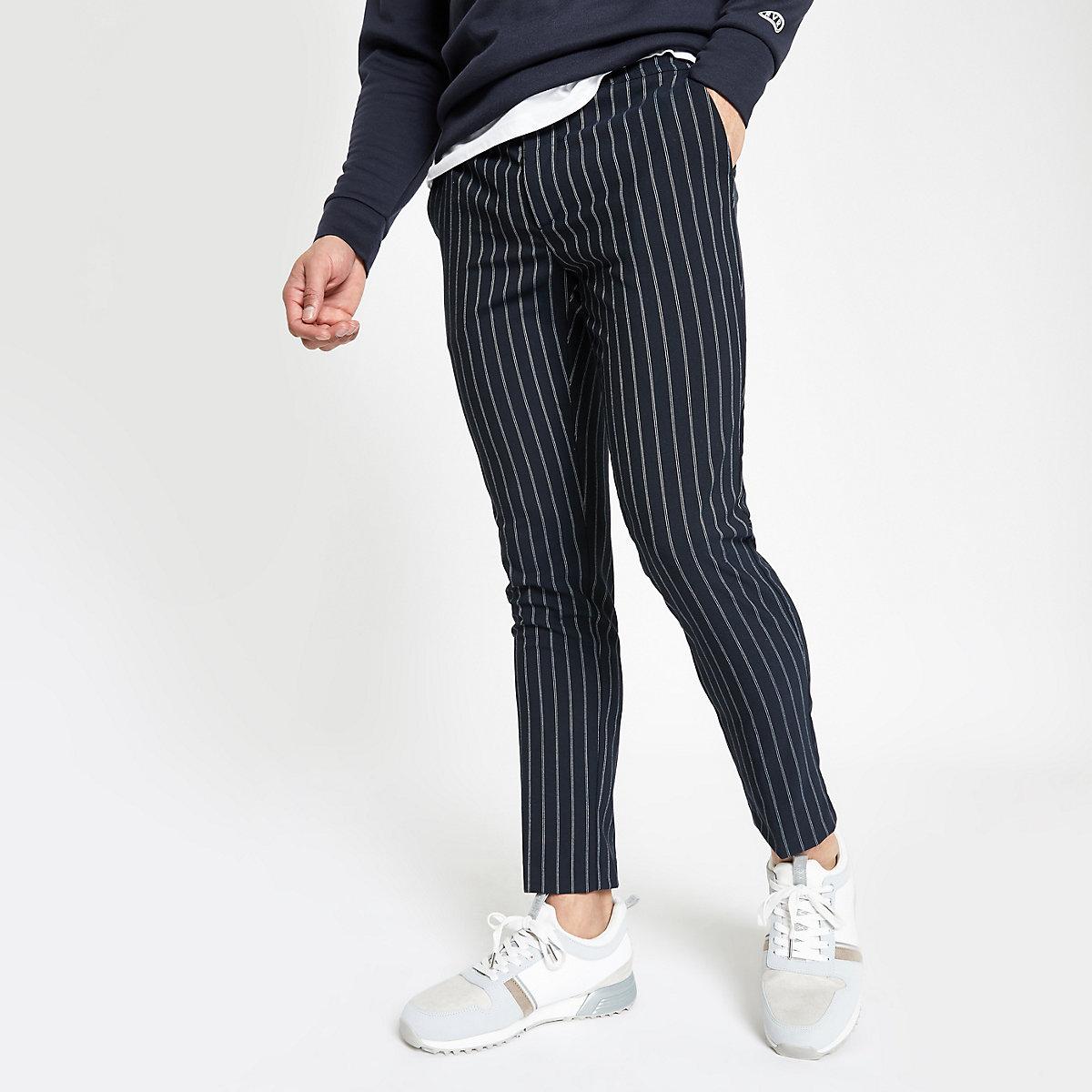 Navy stripe super skinny jogger trousers