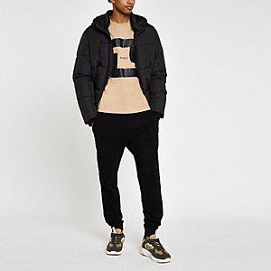 Bruin slim-fit T-shirt met 'MCMXL'-print en korte mouwen