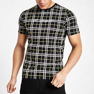 Black neon check slim fit T-shirt