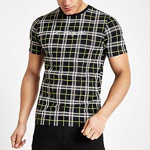 Zwart slim-fit T-shirt met neon ruitmotief
