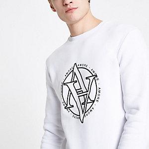 Wit slim-fit sweatshirt met 'Amore'-print