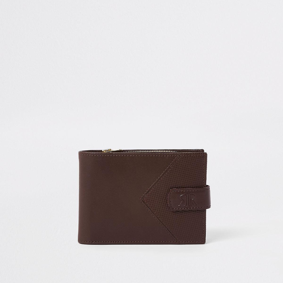 Brown leather chevron RI wallet
