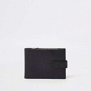 Zwarte leren portemonnee met RI-logo en perforaties