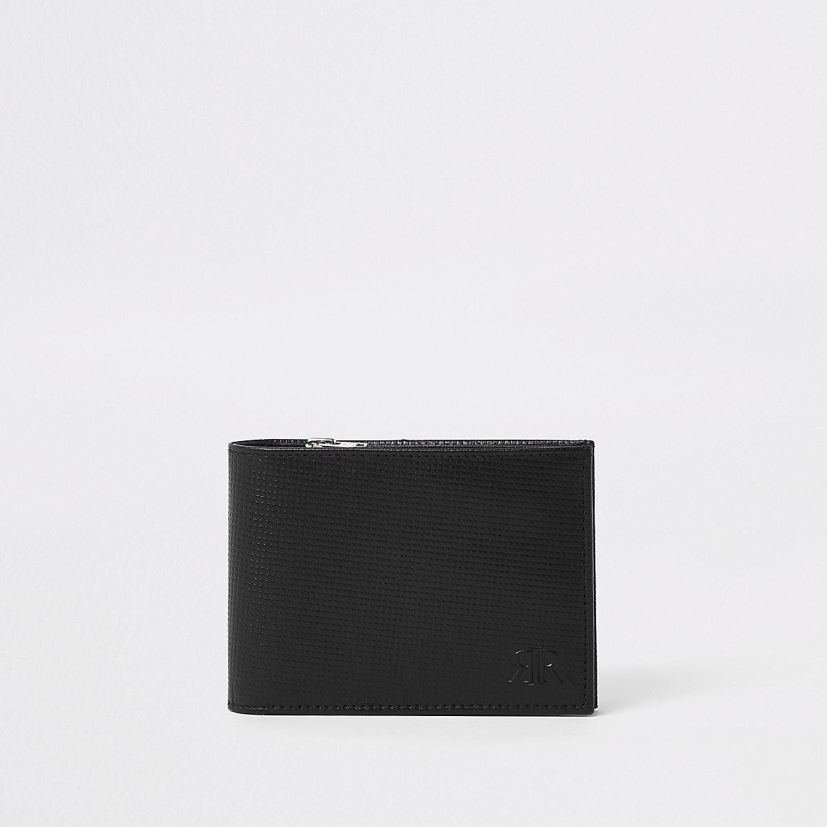 Black leather RI zip wallet