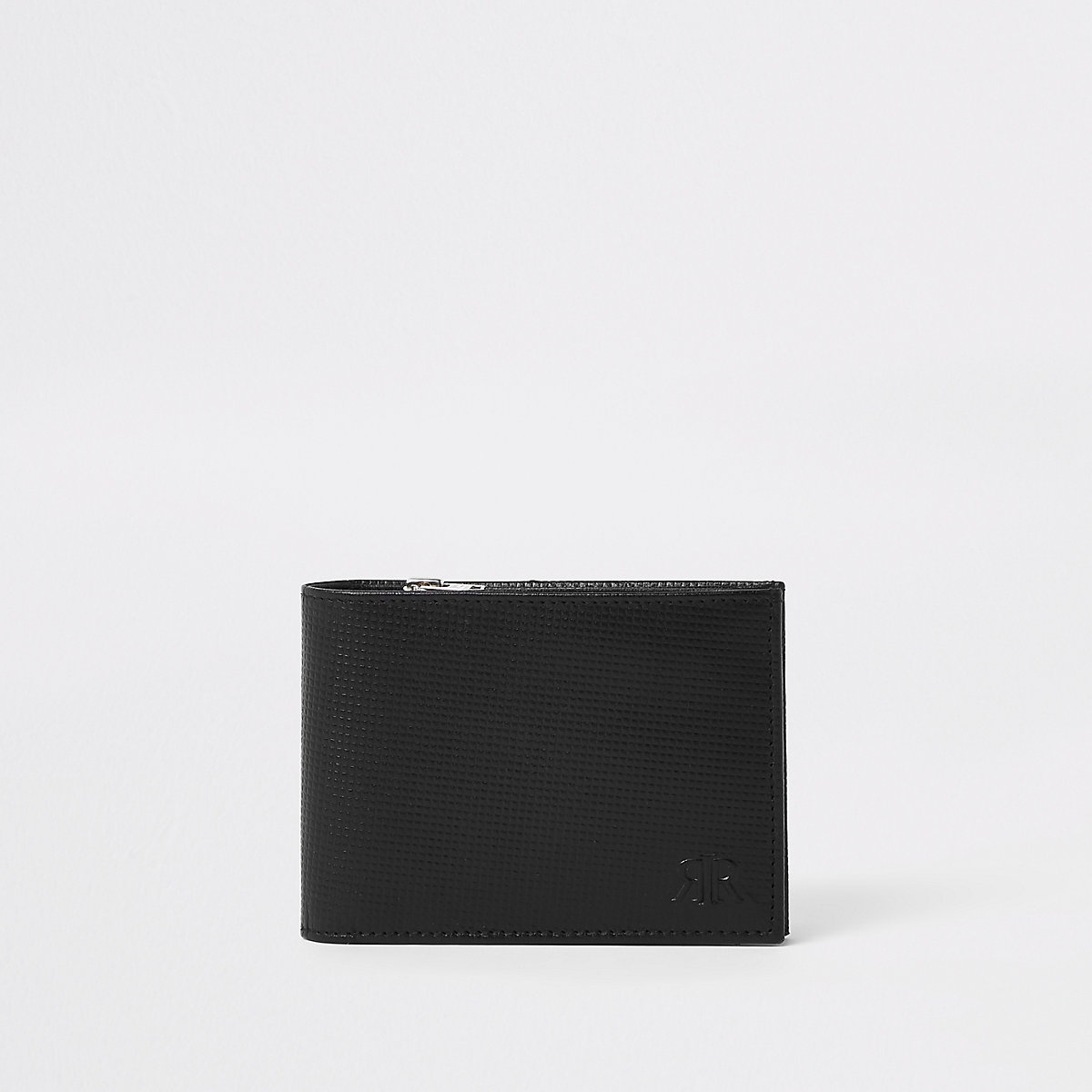 Black leather RI zip wallet