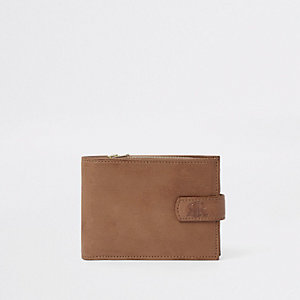 Brown RI fold out leather wallet