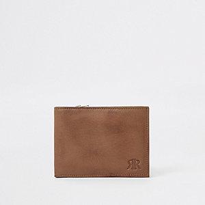 RI– Portefeuille en cuir marron à rabats