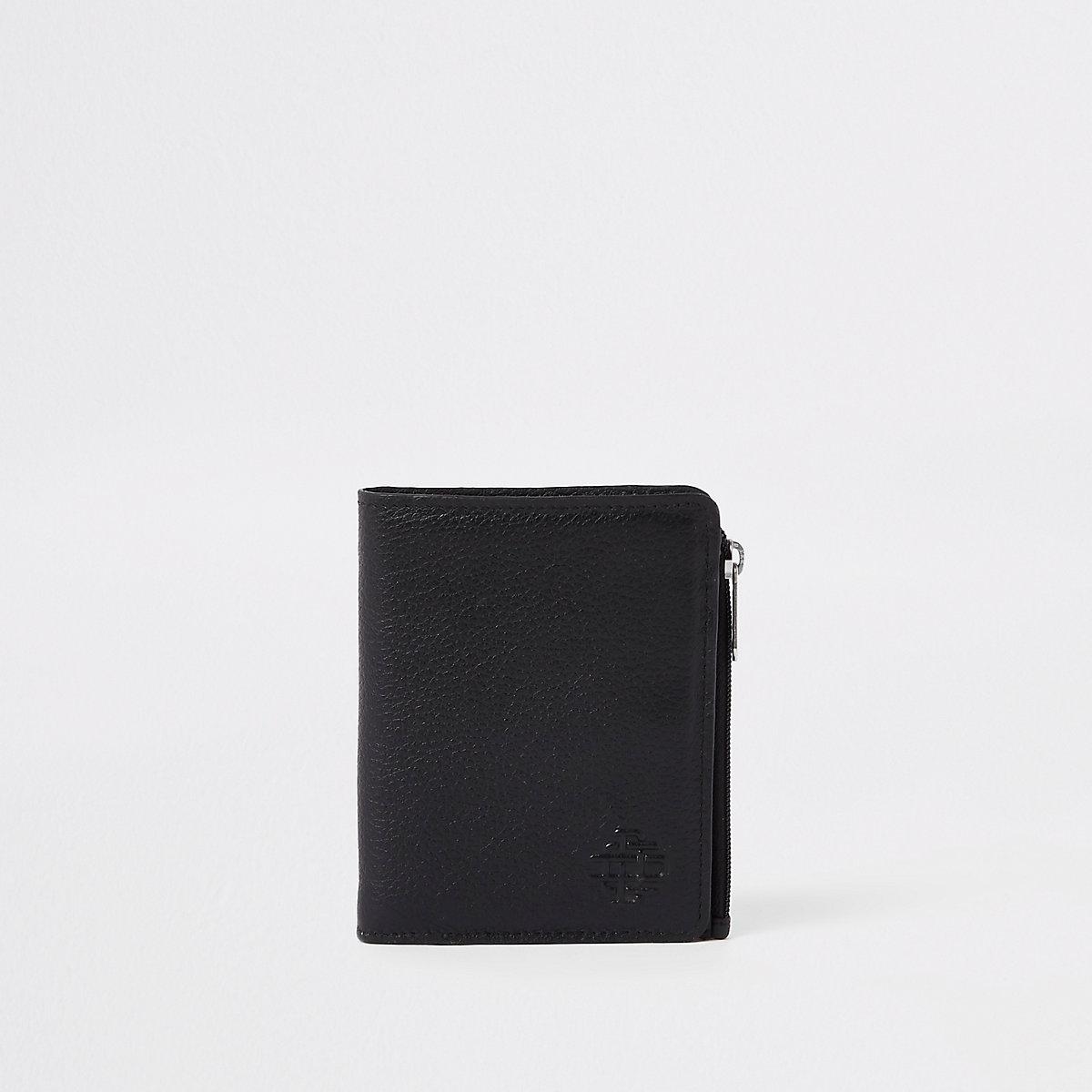 Portefeuille en cuir zippé noir