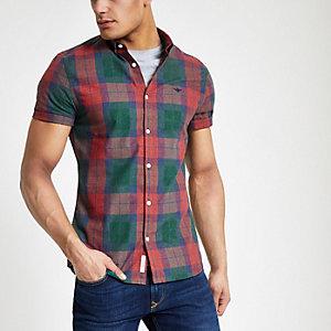 Rood geruit slim-fit overhemd met korte mouwen