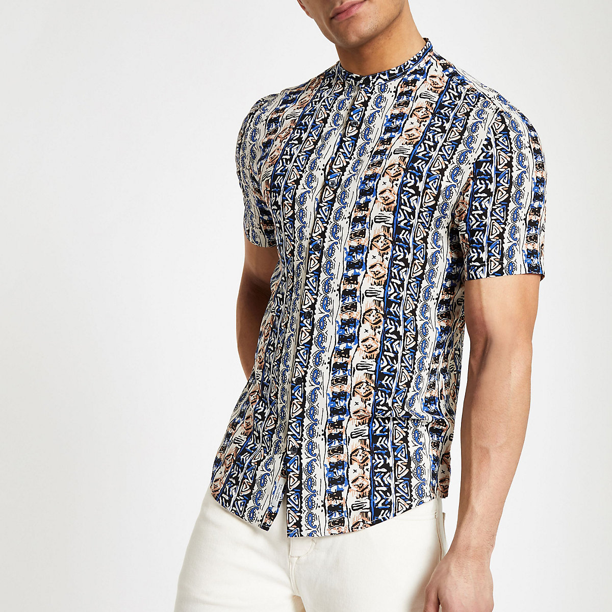 White Aztec grandad short sleeve shirt