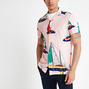 Chemise imprimé bateau rose à manches courtes