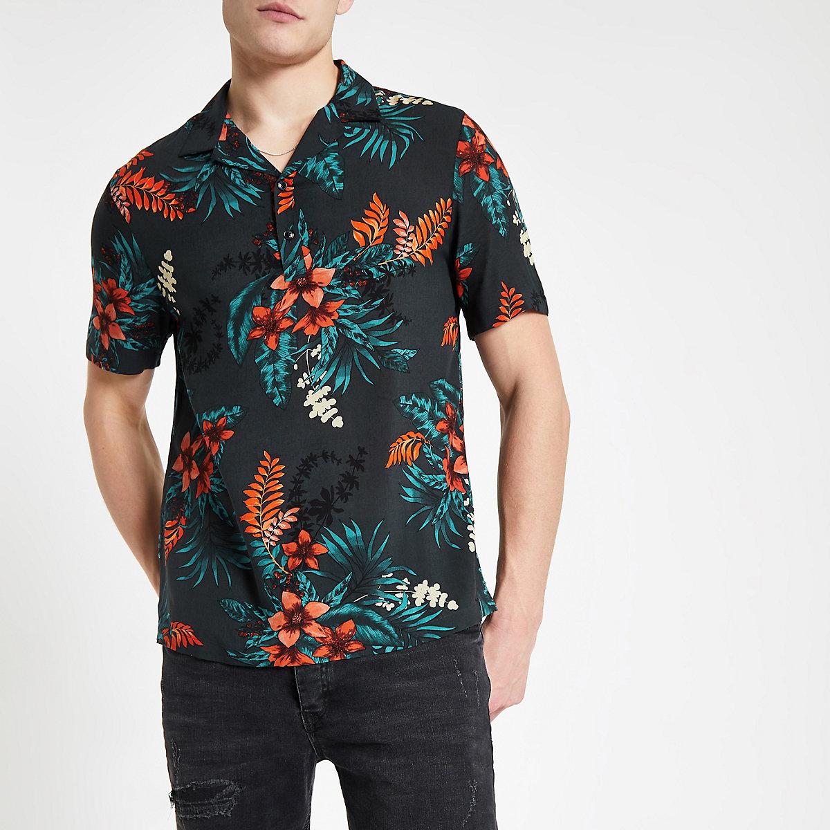 Black floral three button short sleeve shirt