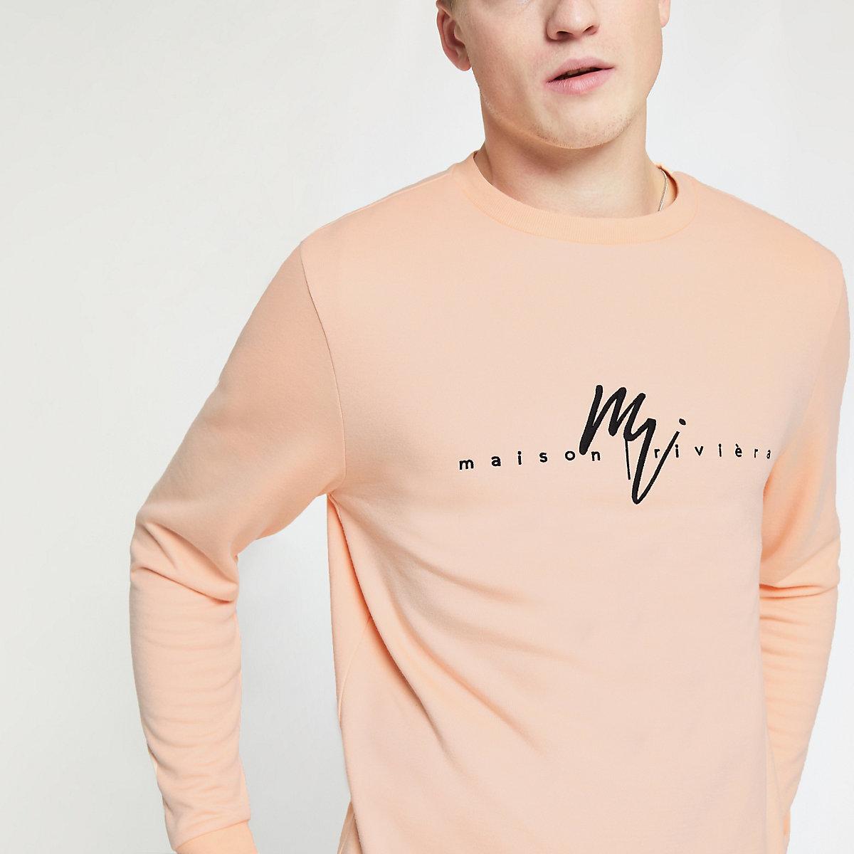 Orange crew neck slim fit sweatshirt