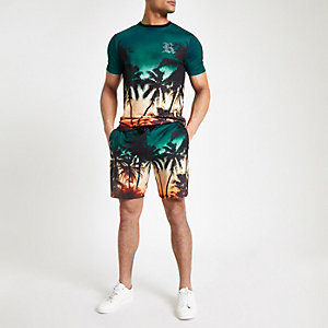 Blue palm print slim fit jersey shorts