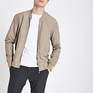 Brown long sleeve bomber jacket