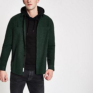 Green button down long sleeve overshirt