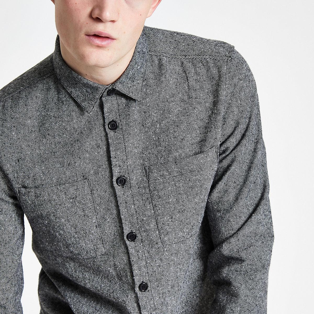 Grey button down long sleeve overshirt