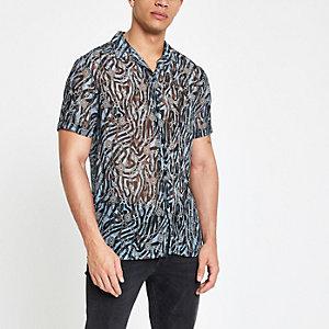 Blauw doorschijnend overhemd met barokprint