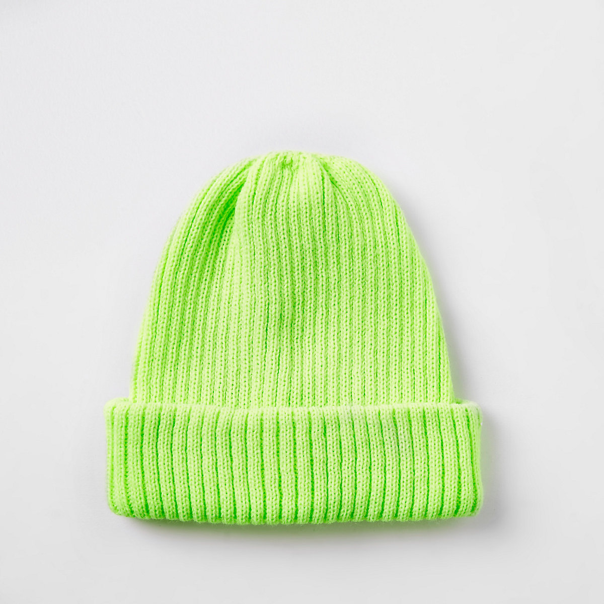Neon yellow fisherman knit beanie hat