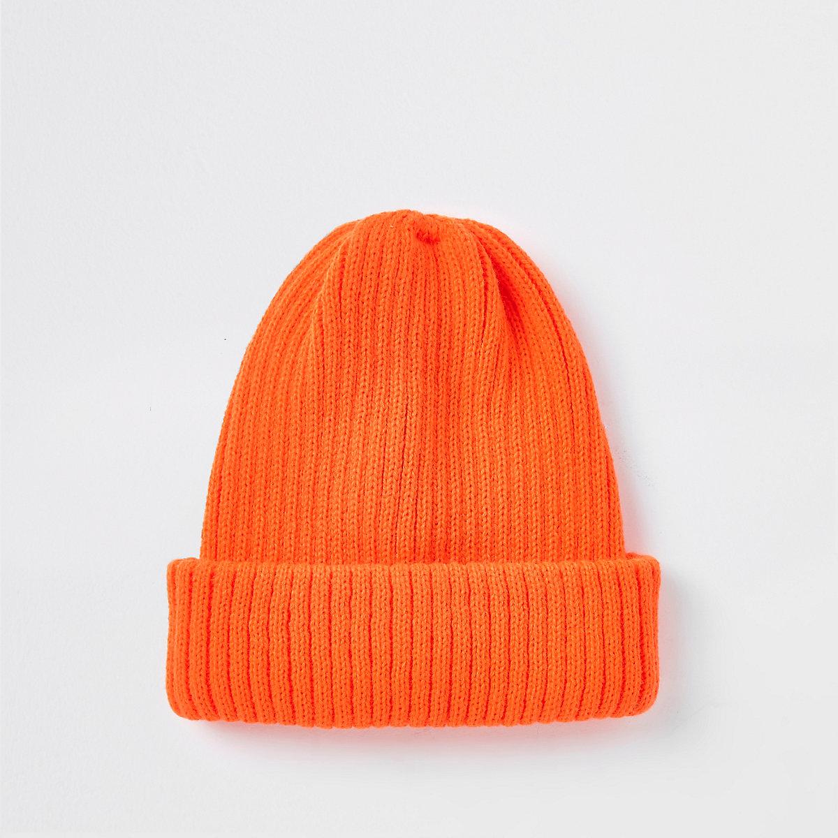 Neon orange fisherman knit beanie hat