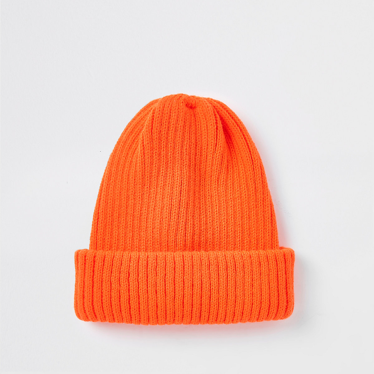 Neon orange fisherman knit beanie hat