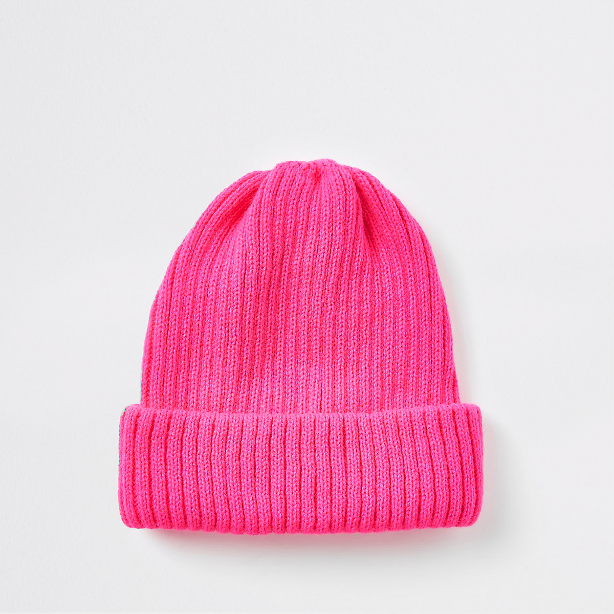 Neon pink fisherman knit beanie hat