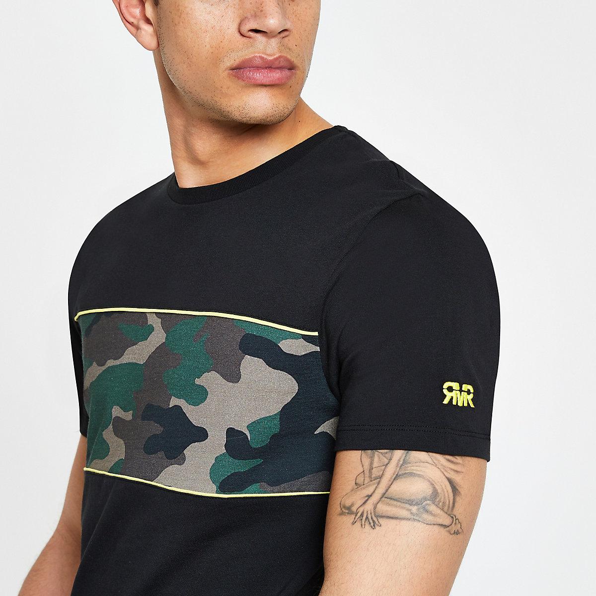 T-shirt slim noir motif camouflage colour block