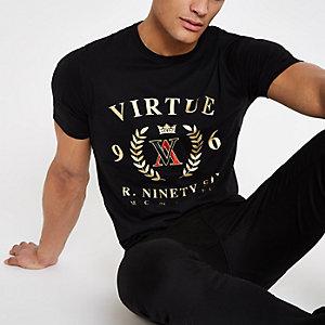 "Schwarzes Slim Fit T-Shirt ""Virtue"""