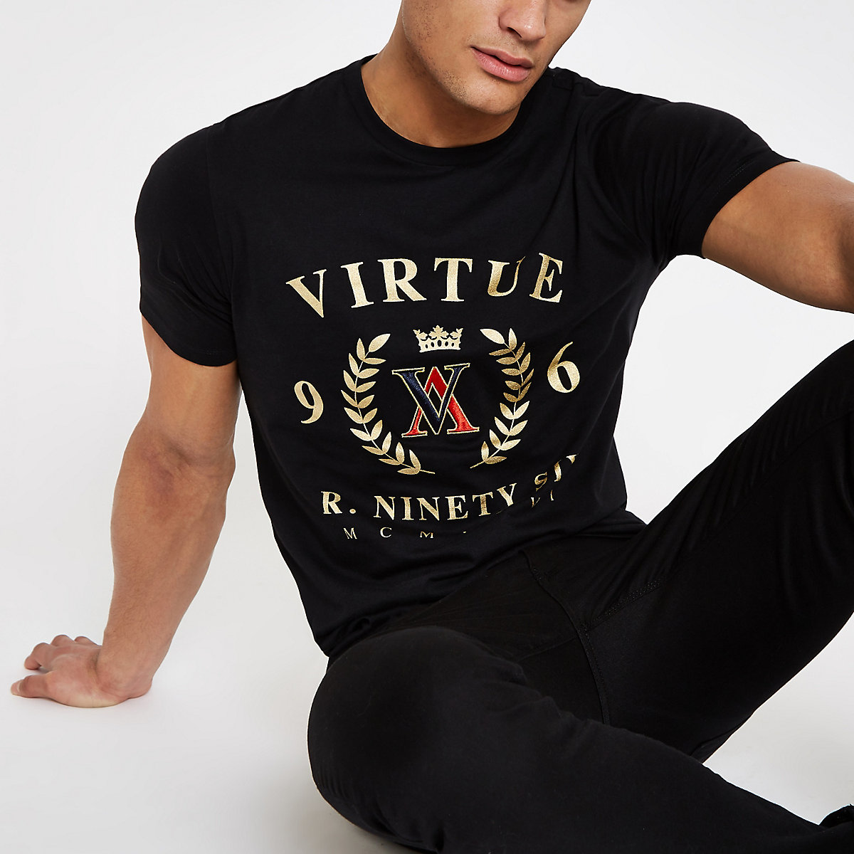 Black 'Virtue' slim fit T-shirt