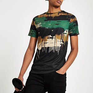 Kaki drip slim-fit T-shirt met camouflageprint