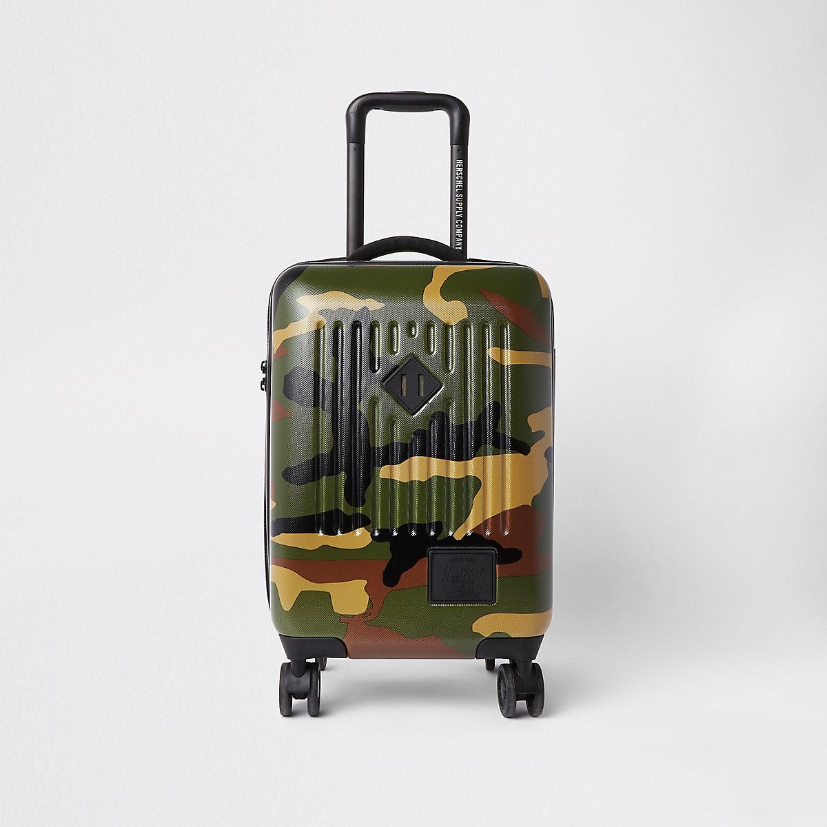 Herschel green camo Trade carry on suitcase