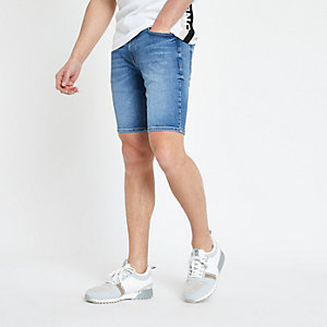 Middenblauwe skinny denim short