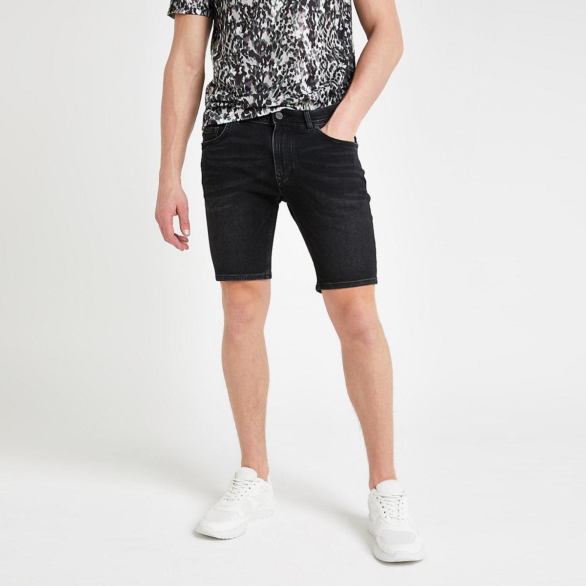 Black Sid skinny wash denim shorts