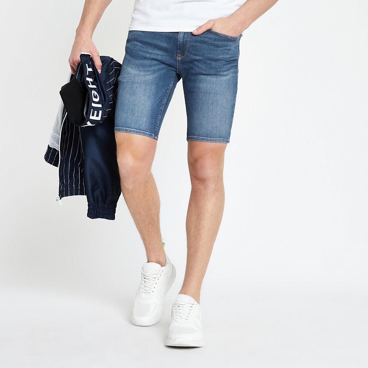 Mid blue Ollie skinny spray on shorts