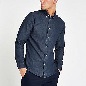 Selected Homme - Blauw overhemd van biologisch katoen