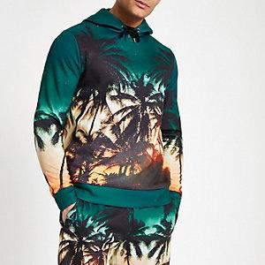 Blauer Slim Fit Hoodie mit Palmenprint
