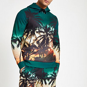 Blue palm print slim fit hoodie