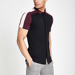 Black colour block button through polo shirt