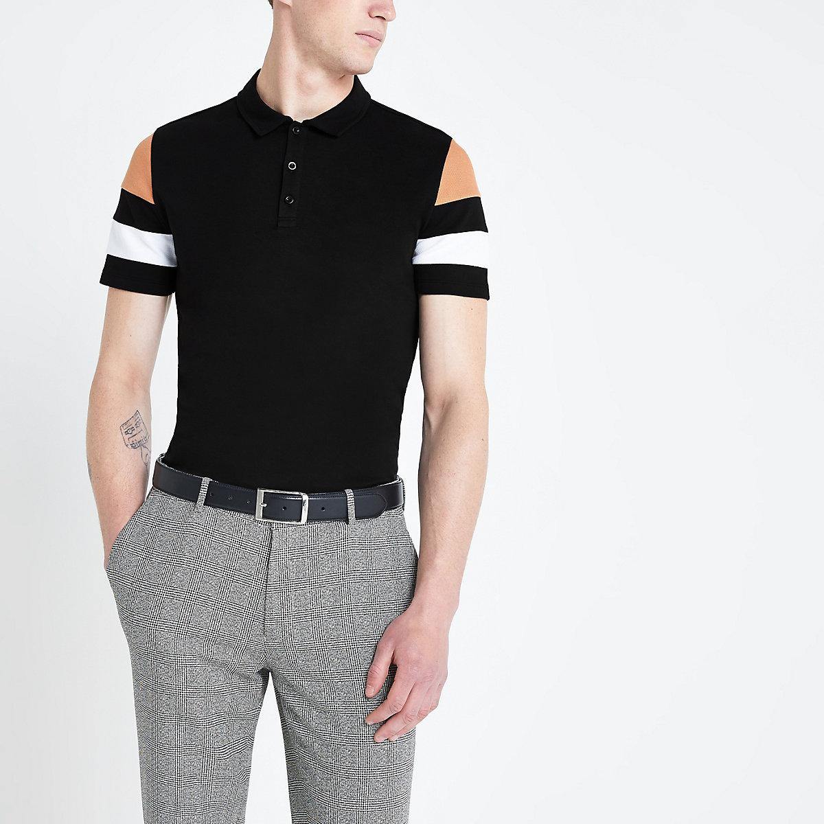 Black slim fit color block sleeve polo shirt
