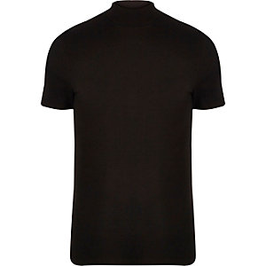 Black muscle fit turtle neck T-shirt