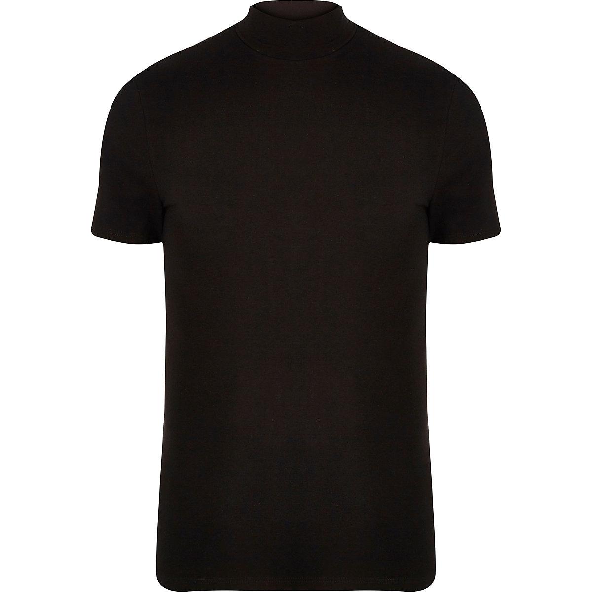 Black muscle fit turtle neck T-shirt