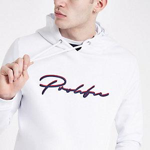 Witte slim-fit hoodie met prolific-print