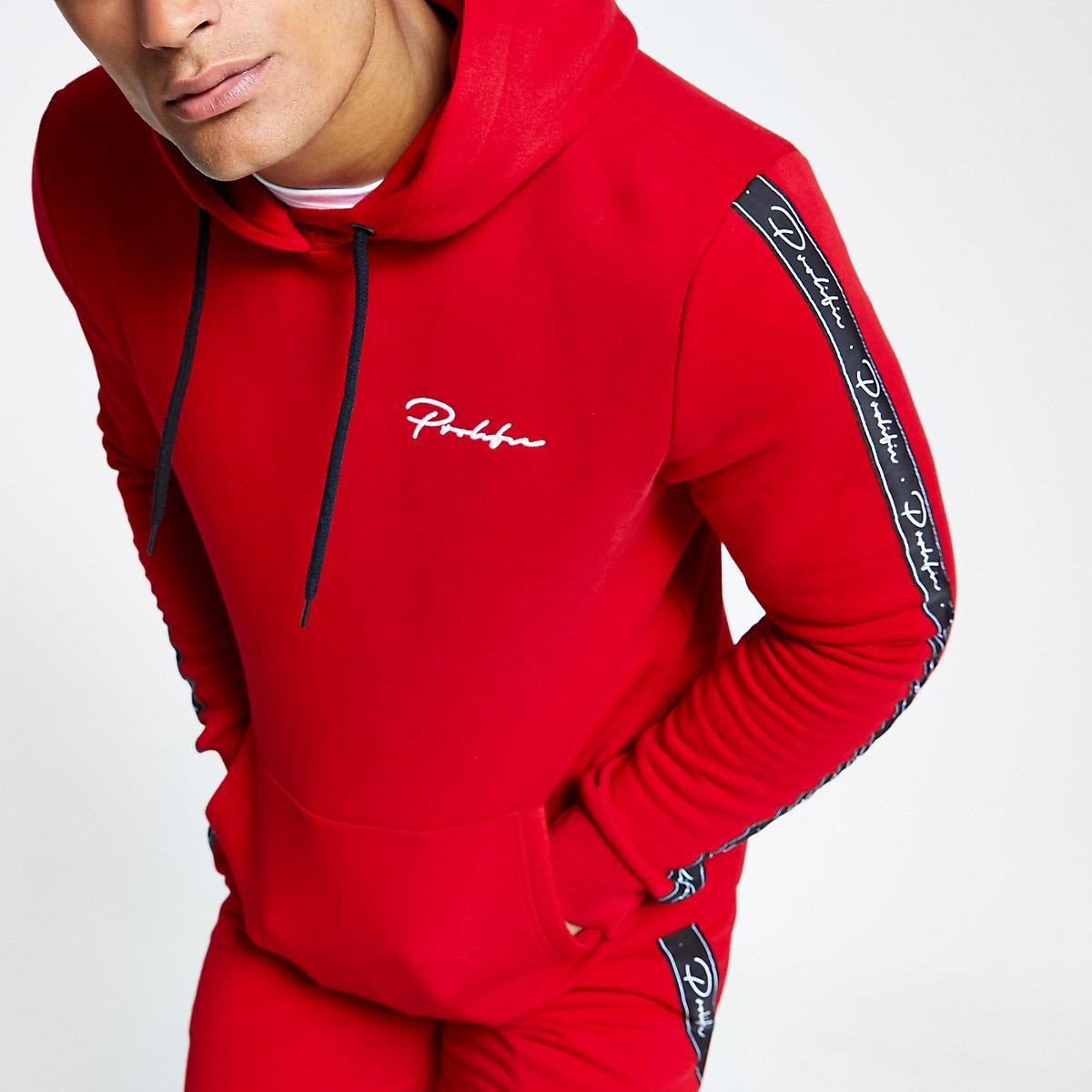 Red 'Prolific' slim fit hoodie