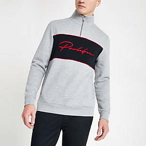 Grey prolific zip funnel neck sweatshirt