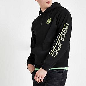 Zwarte hoodie met lange mouwen en 'Prolific'-print