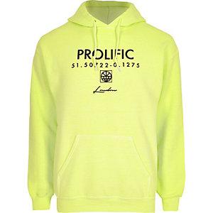 Sweat «Prolific» jaune fluo à capuche et manches longues