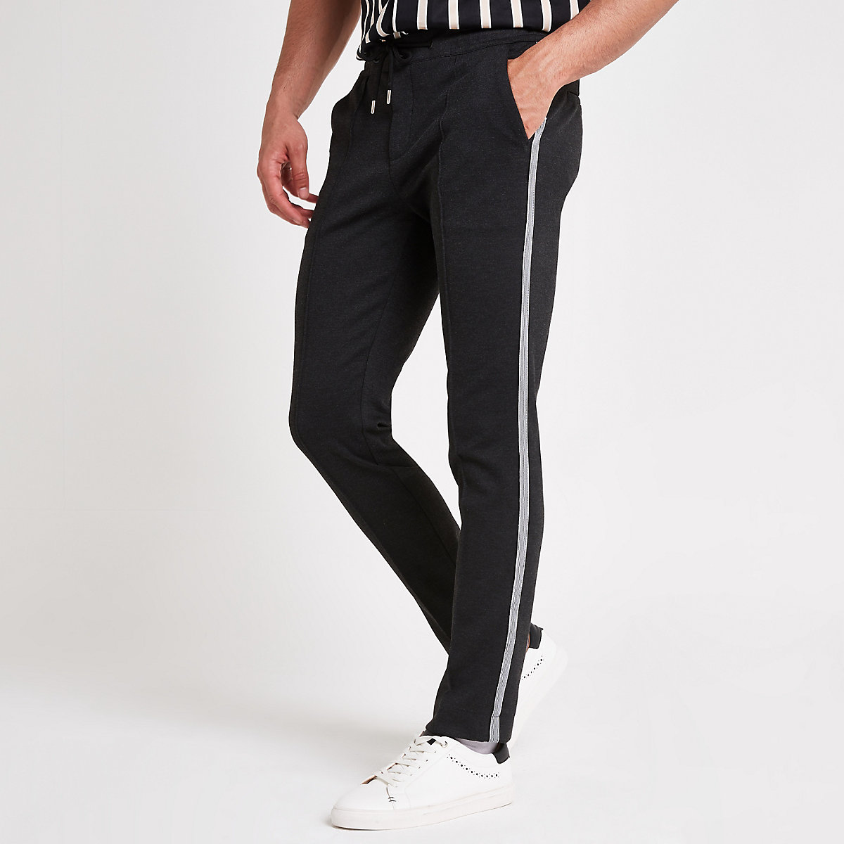 Dark grey stretch skinny jogger pants