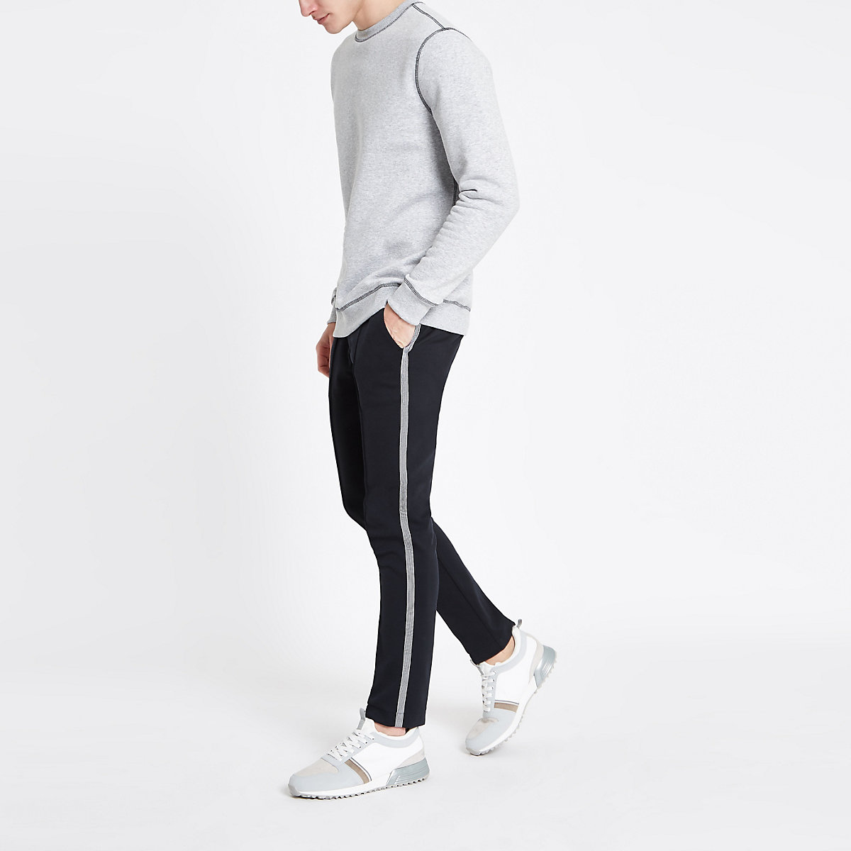 Navy super skinny smart jogger pants