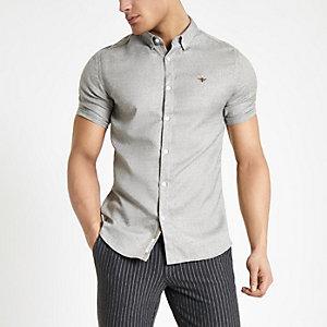 Lichtgrijs slim-fit overhemd met visgraatmotief